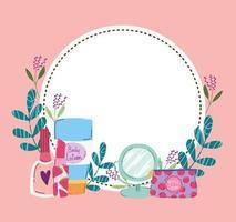 beleza maquiagem espelho loção corporal unha esmalte kit batom vetor