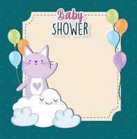 chá de bebê gato fofo desenho animado em nuvem cartão de convite de balões vetor