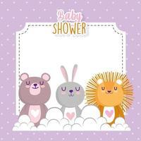 chá de bebê bonito coelho pequeno coelho e cartão de convite do urso vetor