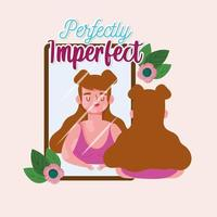 garota perfeitamente imperfeita com vitiligo se olha no espelho vetor