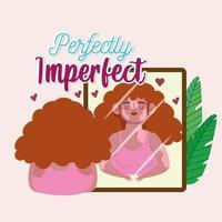 mulher perfeitamente imperfeita com vitiligo se olha no espelho vetor