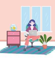 mulher trabalhando com laptop sentada na cadeira do escritório em casa vetor