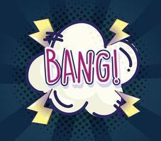 pop art inscrição bang quadrinhos fundo meio-tom e sunburst vetor