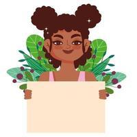 cabelo encaracolado de menina negra, desenho animado feminino afro com banner vetor