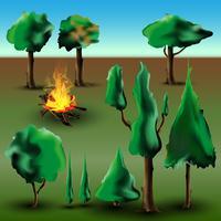 Árvore e arbusto conjunto com fogo vetor