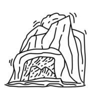 caminhada aventura caverna, viagem, viagem, acampamento. desenho de ícone desenhado à mão, contorno preto, ícone de doodle, vetor