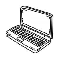 ícone do laptop. doodle desenhado à mão ou estilo de ícone de contorno vetor