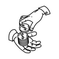 ícone de empréstimo. doodle desenhado à mão ou estilo de ícone de contorno vetor