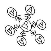 ícone de rede. doodle desenhado à mão ou estilo de ícone de contorno vetor