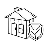 ícone de seguro. doodle desenhado à mão ou estilo de ícone de contorno vetor