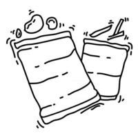 caminhada aventura lanche, viagem, viagem, acampamento. desenho de ícone desenhado à mão, contorno preto, ícone de doodle, vetor