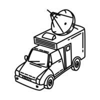 ícone de caminhão de tv por satélite. doodle desenhado à mão ou estilo de ícone de contorno vetor