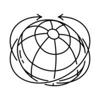 ícone mundial. doodle desenhado à mão ou estilo de ícone de contorno vetor