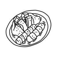 ícone de pempek. doodle desenhado à mão ou estilo de ícone de contorno vetor