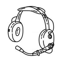 ícone do fone de ouvido piloto. doodle desenhado à mão ou estilo de ícone de contorno vetor