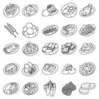 comida indonésia definir vetor de ícone. doodle desenhado à mão ou estilo de ícone de contorno