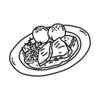 ícone sauerbraten. doodle desenhado à mão ou estilo de ícone de contorno vetor