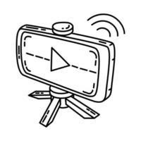 ícone de streaming. doodle desenhado à mão ou estilo de ícone de contorno vetor