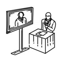 ícone de discussão virtual. doodle desenhado à mão ou estilo de ícone de contorno vetor