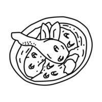 ícone opor ayam. doodle desenhado à mão ou estilo de ícone de contorno vetor