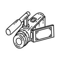 ícone da câmera de vídeo. doodle desenhado à mão ou estilo de ícone de contorno vetor