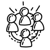 colaboração de negócios mão desenhada ícone design, contorno preto, ícone do vetor. vetor