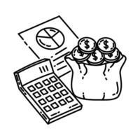 ícone de orçamento. doodle desenhado à mão ou estilo de ícone de contorno vetor