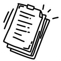 documento de negócios desenhado à mão ícone design, contorno preto, ícone do vetor. vetor