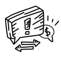relatório de negócios desenhado à mão ícone design, contorno preto, ícone do vetor