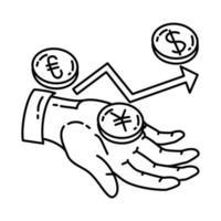 ícone do forex. doodle desenhado à mão ou estilo de ícone de contorno vetor