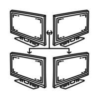 ícone de rede corporativa. doodle desenhado à mão ou estilo de ícone de contorno vetor
