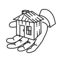 ícone de hipoteca. doodle desenhado à mão ou estilo de ícone de contorno vetor