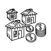 ícone de investimento. doodle desenhado à mão ou estilo de ícone de contorno vetor