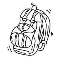 bolsa de aventura de caminhada, viagem, viagem, acampamento. mão desenhada ícone do design, contorno preto, ícone do vetor. vetor
