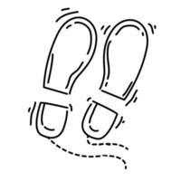 caminhada aventura passo, viagem, viagem, acampamento. desenho de ícone desenhado à mão, contorno preto, ícone de doodle, vetor