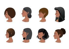 coleção de estilos de cabelo de mulheres afro-americanas. ilustração em vetor avatares com vista lateral de mulheres negras