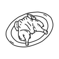 ícone ayam goreng. doodle desenhado à mão ou estilo de ícone de contorno vetor