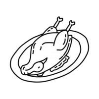 ícone de bebek goreng. doodle desenhado à mão ou estilo de ícone de contorno vetor