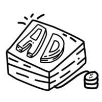 publicidade de negócios desenhado à mão ícone design, contorno preto, ícone do vetor. vetor