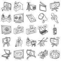 radiodifusão definir vetor de ícone. doodle desenhado à mão ou estilo de ícone de contorno
