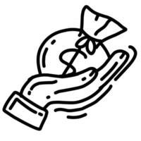 negócio lucro mão desenhada ícone design, contorno preto, ícone do vetor. vetor