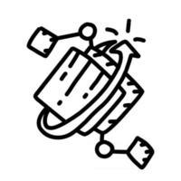 ícone desenhado mão digital de negócios, contorno preto, ícone do vetor. vetor