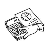 ícone de contabilidade. doodle desenhado à mão ou estilo de ícone de contorno vetor