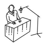 ícone da emissora. doodle desenhado à mão ou estilo de ícone de contorno vetor