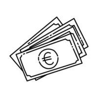 ícone do euro. doodle desenhado à mão ou estilo de ícone de contorno vetor