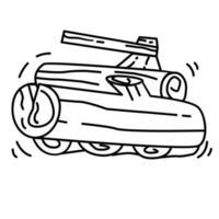 caminhada aventura lenha, viagem, viagem, acampamento. desenho de ícone desenhado à mão, contorno preto, ícone de doodle, vetor
