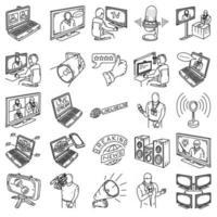radiodifusão - 2 definir vetor de ícone. doodle desenhado à mão ou estilo de ícone de contorno