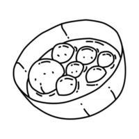 ícone de bakso. doodle desenhado à mão ou estilo de ícone de contorno vetor