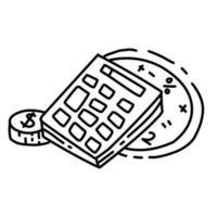 ícone de mão desenhada de contabilidade de negócios, contorno preto, ícone do vetor. vetor