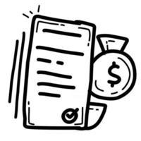 custo de negócios mão desenhada ícone design, contorno preto, ícone do vetor. vetor